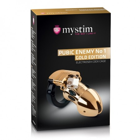 Mystim - Pubic Enemy No 1 Cock Cage Gold Edition - Pas cnoty do elektrostymulacji