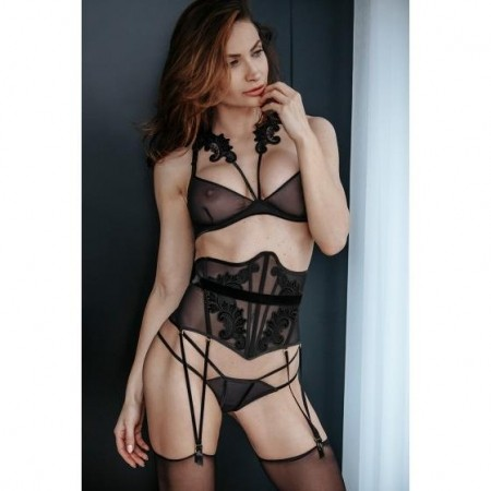 Petitenoir Tulle Waspie with embroidery, suspenders and belt M-801211